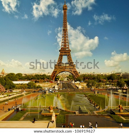 Symbols of Paris: Eiffel Tower from Trocadero square