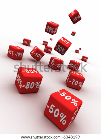 Symbols of percent on falling red cubes.