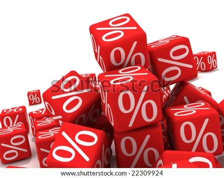Symbols of percent on red cubes.