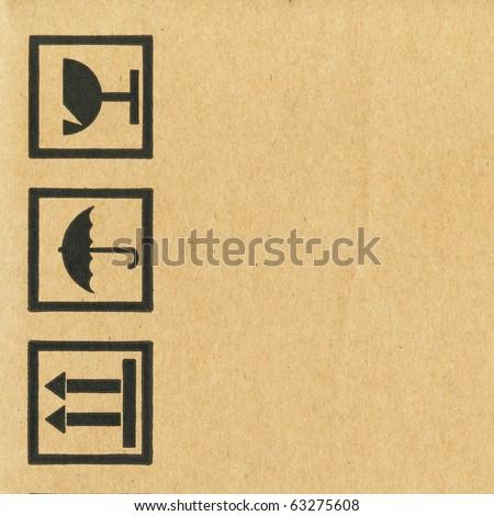 Symbols packing on corrugated cardboard