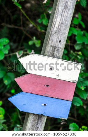 Symbols with colors and no specific information in the forest of Germany Europe #1059627338