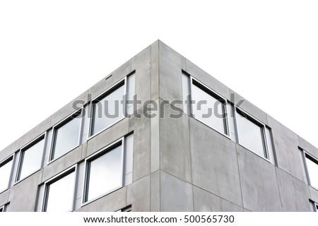Symmetric Contemporary Architecture Concrete Square Geometric Building Office Corner Isolated White Background Structure Windows #500565730