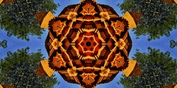 symmetrical abstract design of a temple