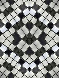symmetrical geometric pattern black and white blocks structure ceiling panel