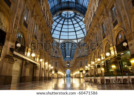 Symmetrical night shot of the hall of the landmark arcade or covered luxury shopping mall, Galleria Vittorio Emanuele II in Milan, Italy