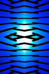 symmetrical pattern with an eye-like structure in the middle with blue and white background.