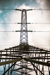 Symmetrical powerline tower from the side