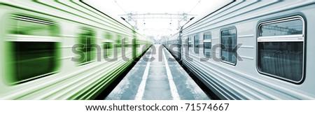 Symmetrical trains - stock photo