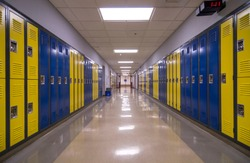 Symmetrical view of a school hallway with lockers on each side