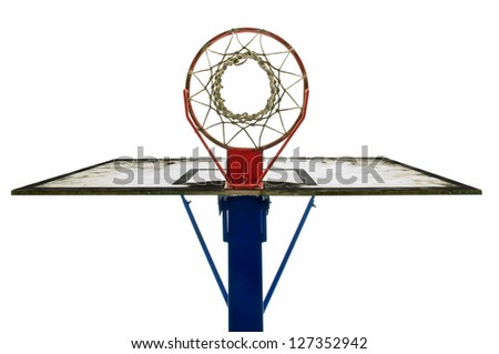 symmetrical view of outdoor used basket ball  hoop