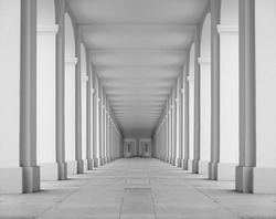 Symmetrical view of the passages with entrances and arcades of several neoclassical buildings. cctv cameras for home. Saint Petersburg.