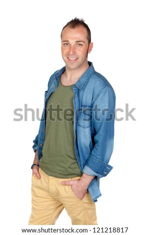 Sympathetic man smiling isolated on white background