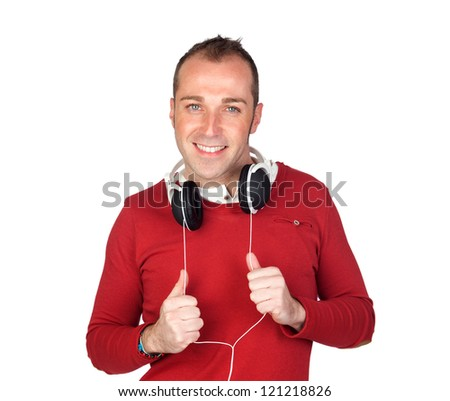 Sympathetic man with headphone isolated on white background - stock photo