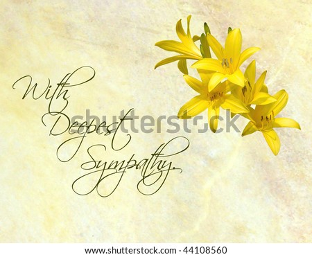 Sympathy card featuring pretty day lilies on a yellow marbled background.