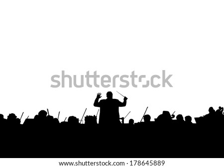 Symphony Orchestra in the form of a silhouette on a white background Сток-фото ©