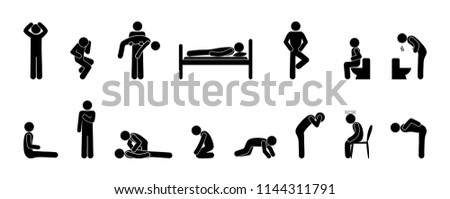 symptoms of disease and first aid, set of icons, stick figure man, pain and ill health illustration, human silhouette in various poses, isolated pictograms