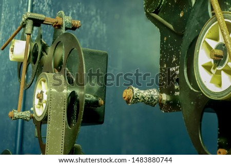 Synchronize for film production, film production, film production tools.Machines for film production. Old tools rust.