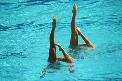 Synchronized swimming duet during competition
