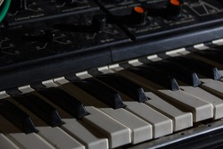 Synth keys in the dark. Octaves. Buttons and settings