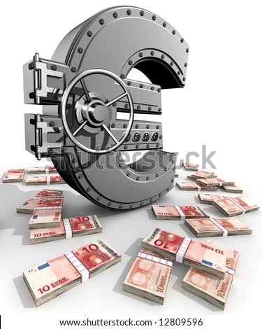 Synthesis from euro symbol and banking safe