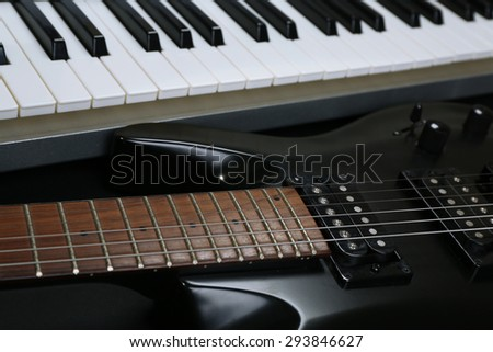 Synthesizer And Electric Guitar Closeup Ez Canvas