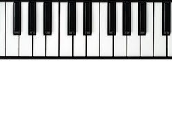 synthesizer keyboard on isolated white background with empty space for text.