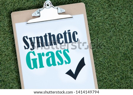 Synthetic Grass message on synthetic lawn #1414149794