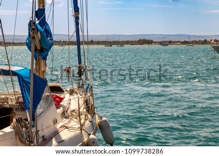 Syracuse (Italy): sailboat ready to sail in the Mediterranean #1099738286