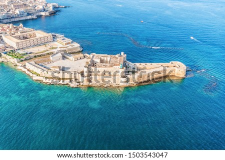 Syracuse Sicily. Aerial view of Maniace fortress in Ortigia. Сток-фото ©