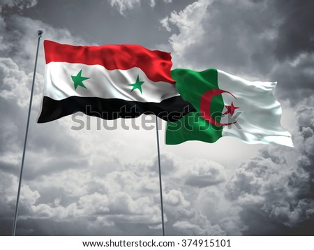 Syria & Algeria Flags are waving in the sky with dark clouds