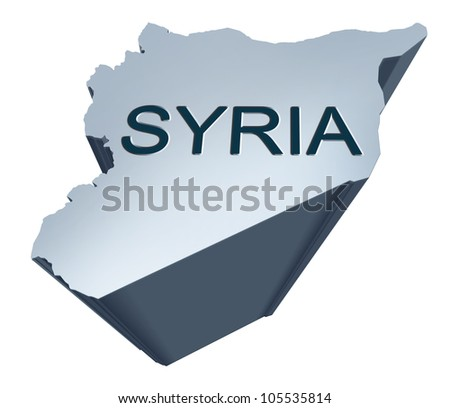 Syria dimensional map from the middle East - stock photo