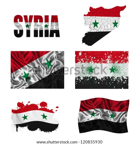 Syria flag and map in different styles in different textures
