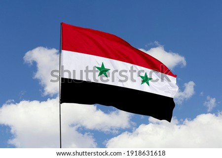 Syria flag isolated on the blue sky with clipping path. close up waving flag of Syria. flag symbols of Syria. Stockfoto ©