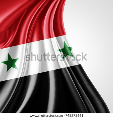 Syria  flag of silk with copyspace for your text or images and white background-3D illustration