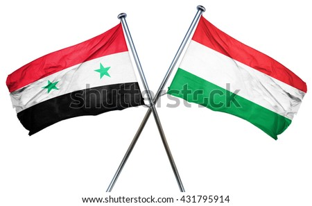 Syria flag with Hungary flag, 3D rendering