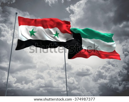 Syria & Kuwait Flags are waving in the sky with dark clouds