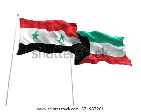 Syria & Kuwait Flags are waving on the isolated white background