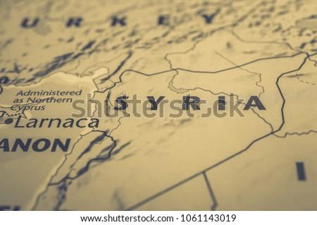 Syria on the map of Europe Stockfoto ©