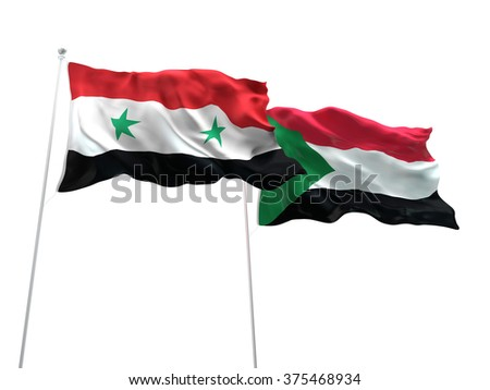 Syria & Sudan Flags are waving on the isolated white background