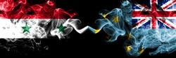 Syria vs Tuvalu, Tuvaluan smoke flags placed side by side. Thick colored silky smoke flags of Syrian and Tuvalu, Tuvaluan