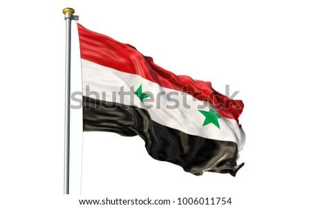 Syrian Arab Republic flag. Isolated 3d Syrian Arab Republic flag