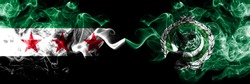 Syrian Arab Republic vs Arab League smoke flags placed side by side. Thick colored silky smoke flags of Syria opposition and Arab League
