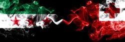 Syrian Arab Republic vs Tonga, Tongan smoke flags placed side by side. Thick colored silky smoke flags of Syria opposition and Tonga, Tongan