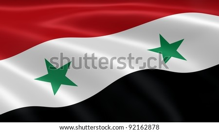 Syrian flag in the wind. Part of a series. - stock photo