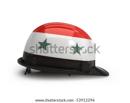 Syrian flag on construction helmet