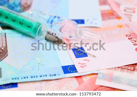 syringe for euro banknotes.