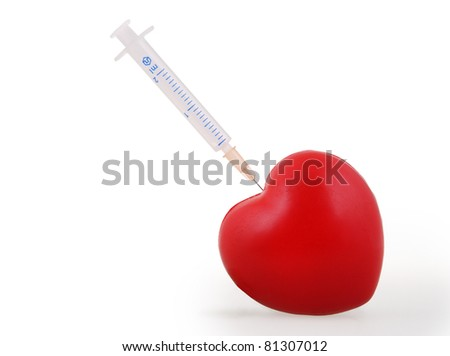 Syringe injecting a red heart