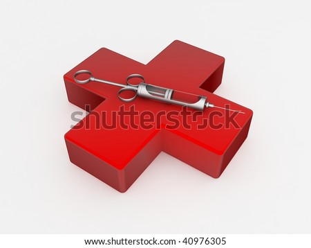 Syringe on top of a red cross