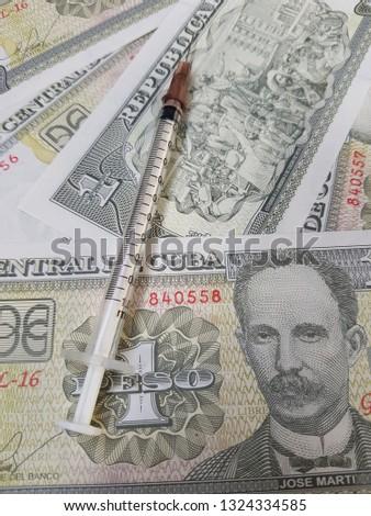 Syringe placed on Cuba banknotes.Use for website/banner background, backdrop, montage menu #1324334585