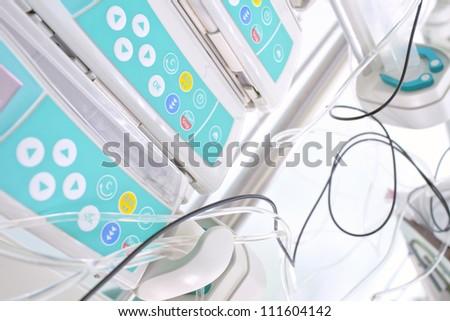 Syringe pumps with the medicine. photo